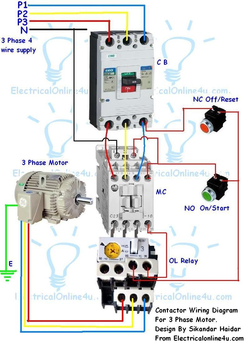 3 phase contactor wiring diagram start stop Download-Contactor Wiring Guide For 3 Phase Motor With Circuit Breaker Overload Relay NC NO Switches 17-l
