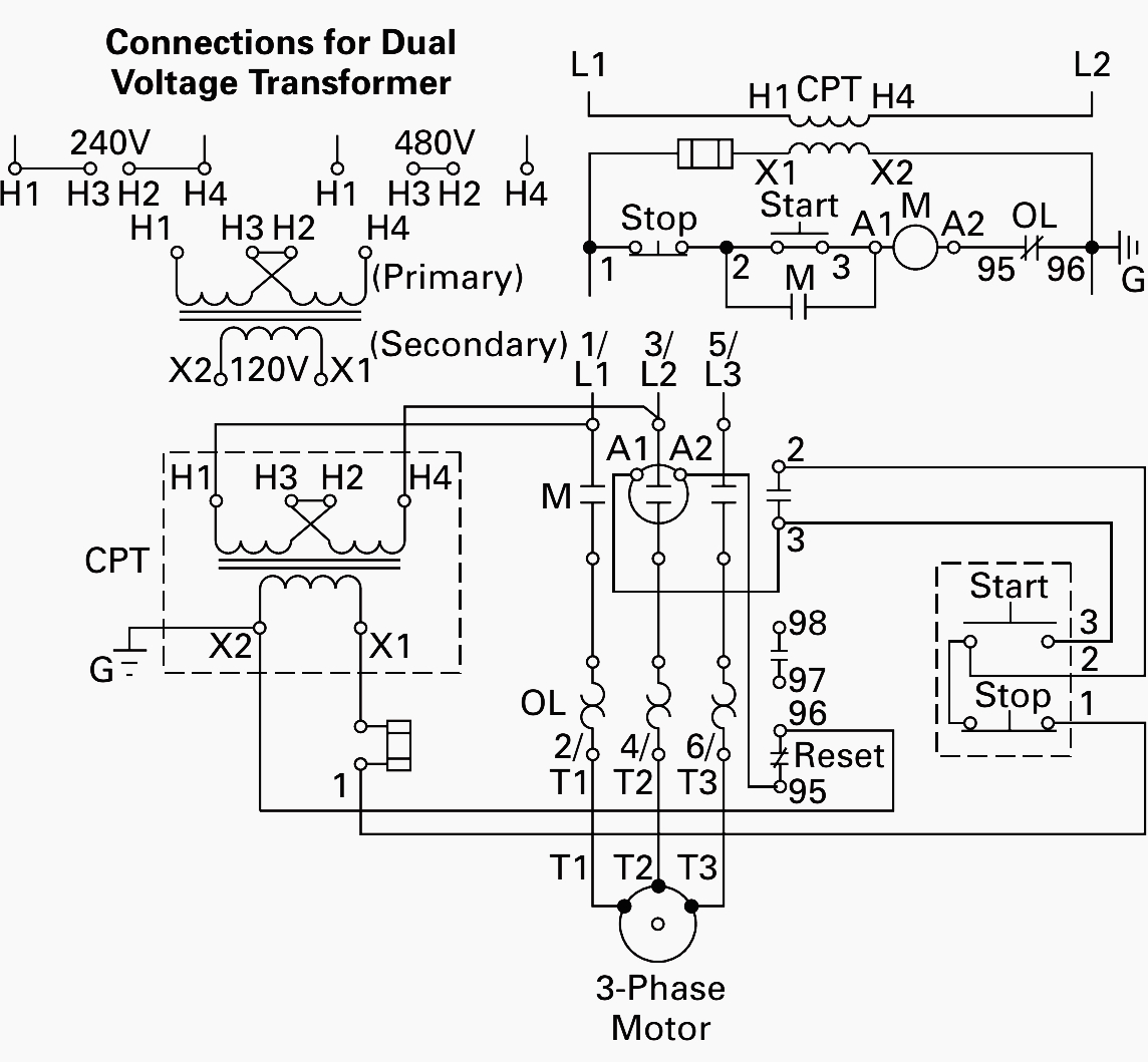 240v to 480v transformer wiring diagram schematic