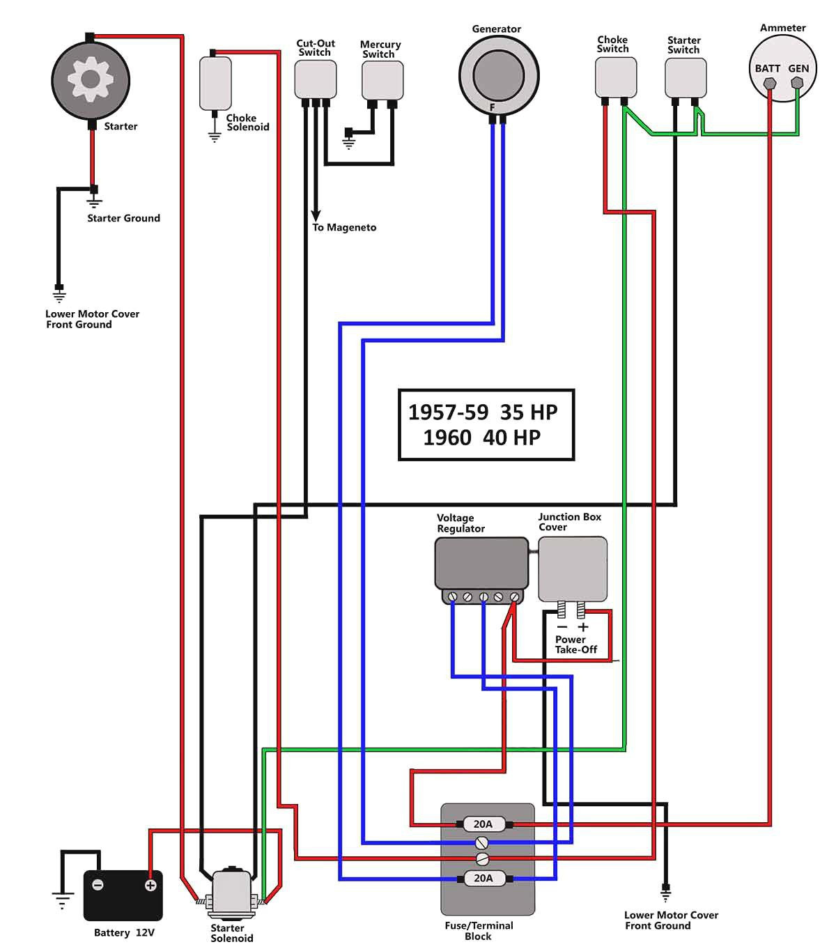 wiring diagram for mercury ignition switch wiring diagram for mercury 40 hp 50 hp mercury outboard wiring diagram collection #11