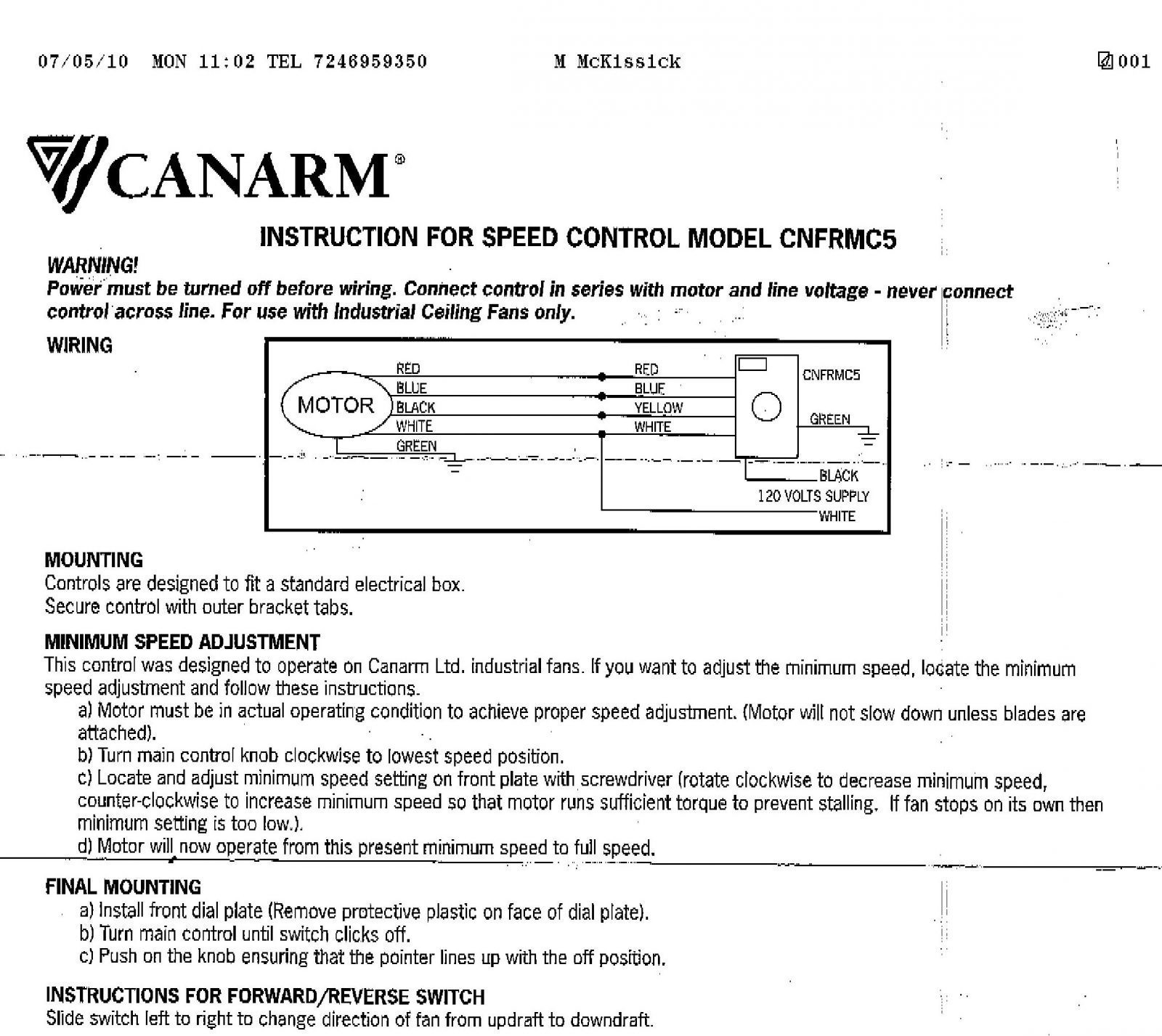 Diagram Canarm Industrial Ceiling Fans Wiring Diagram Download