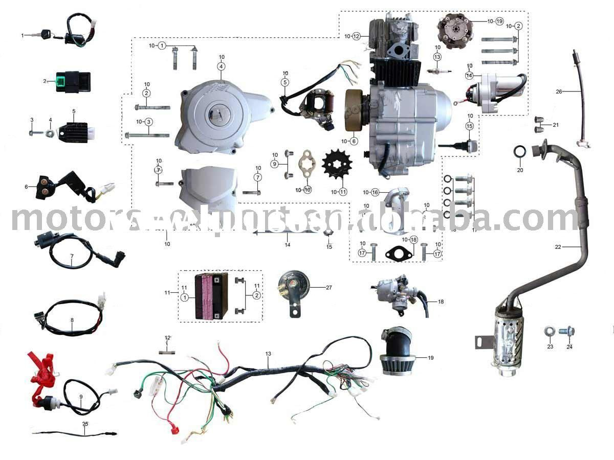Coolster 125cc atv Wiring Diagram - Coolster 110cc atv Parts Furthermore  110cc Pit Bike Engine Diagram