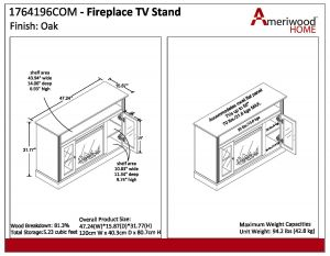 "Electric Fireplace Wiring Diagram - Ameriwood Home Chicago Electric Fireplace Tv Console for Tvs Up to A 50"" Multiple Colors Walmart 8g"