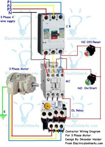 Electrical Contactor Wiring Diagram - Contactor Wiring Guide for 3 Phase Motor with Circuit Breaker Overload Relay Nc No Switches 16t
