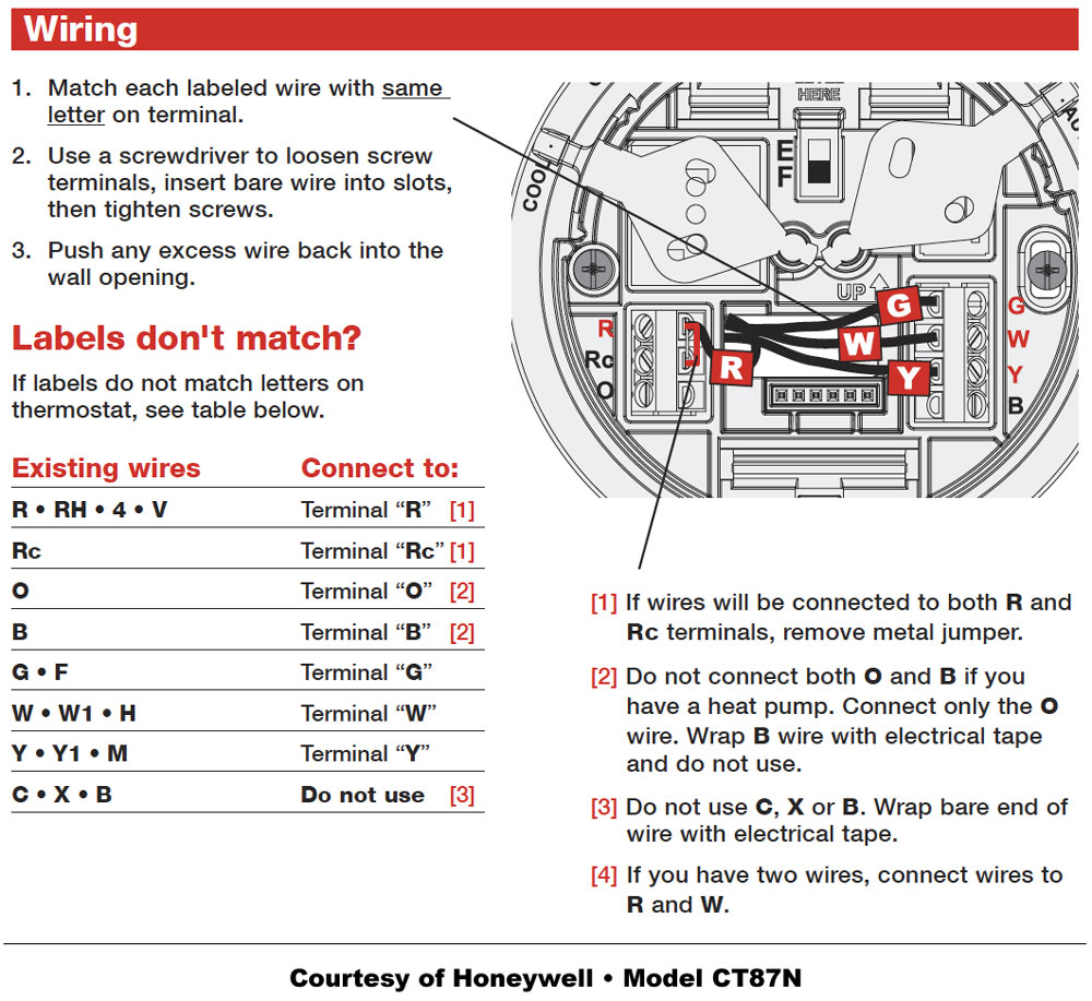 Honeywell Manual Thermostat Wiring Diagram Sample