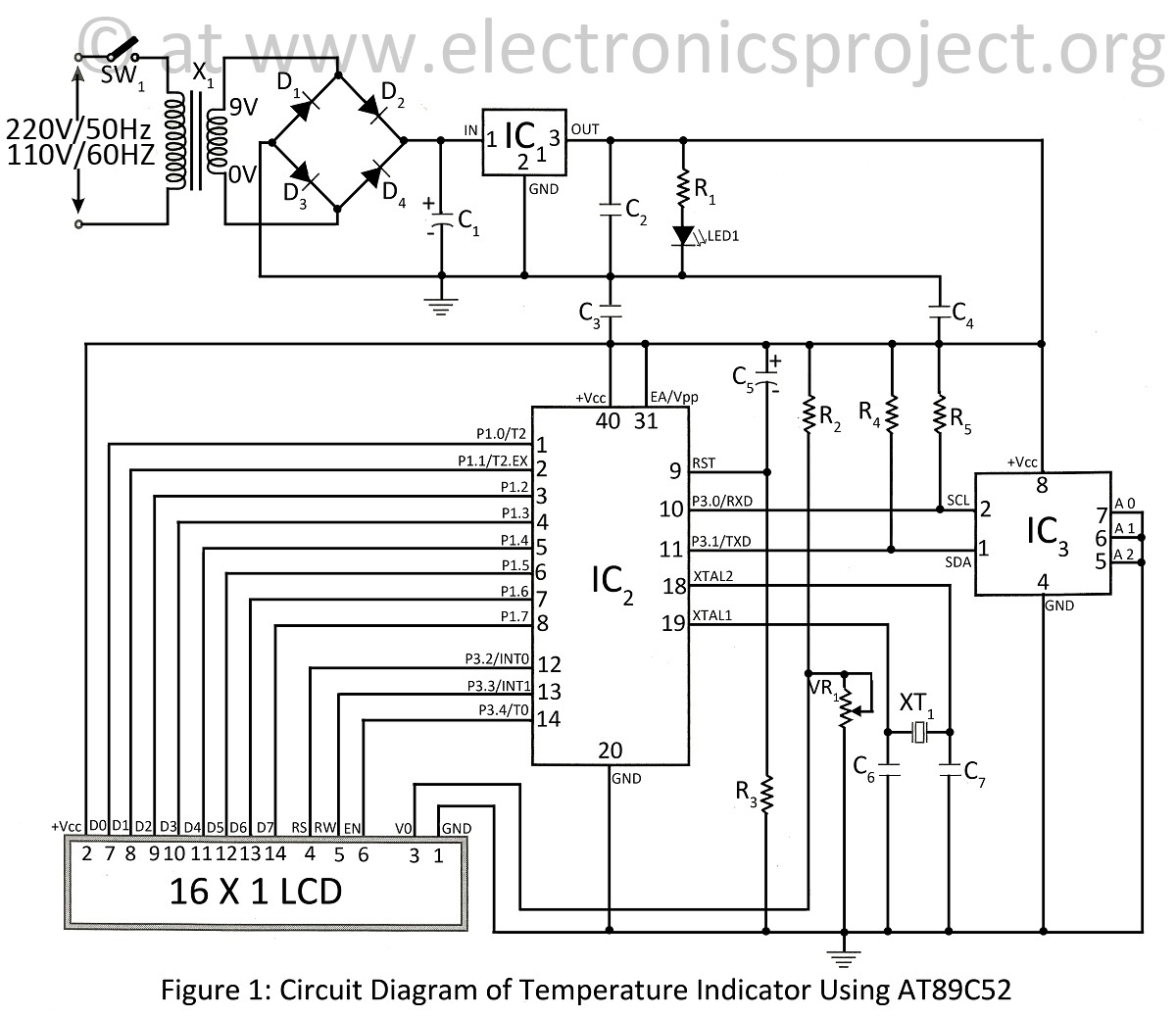 temperature controller wiring diagram Collection-circuit diagram of temperature indicator using at89c52 11-n
